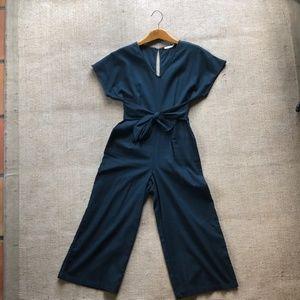 Lush Navy Blue Linen Jumpsuit
